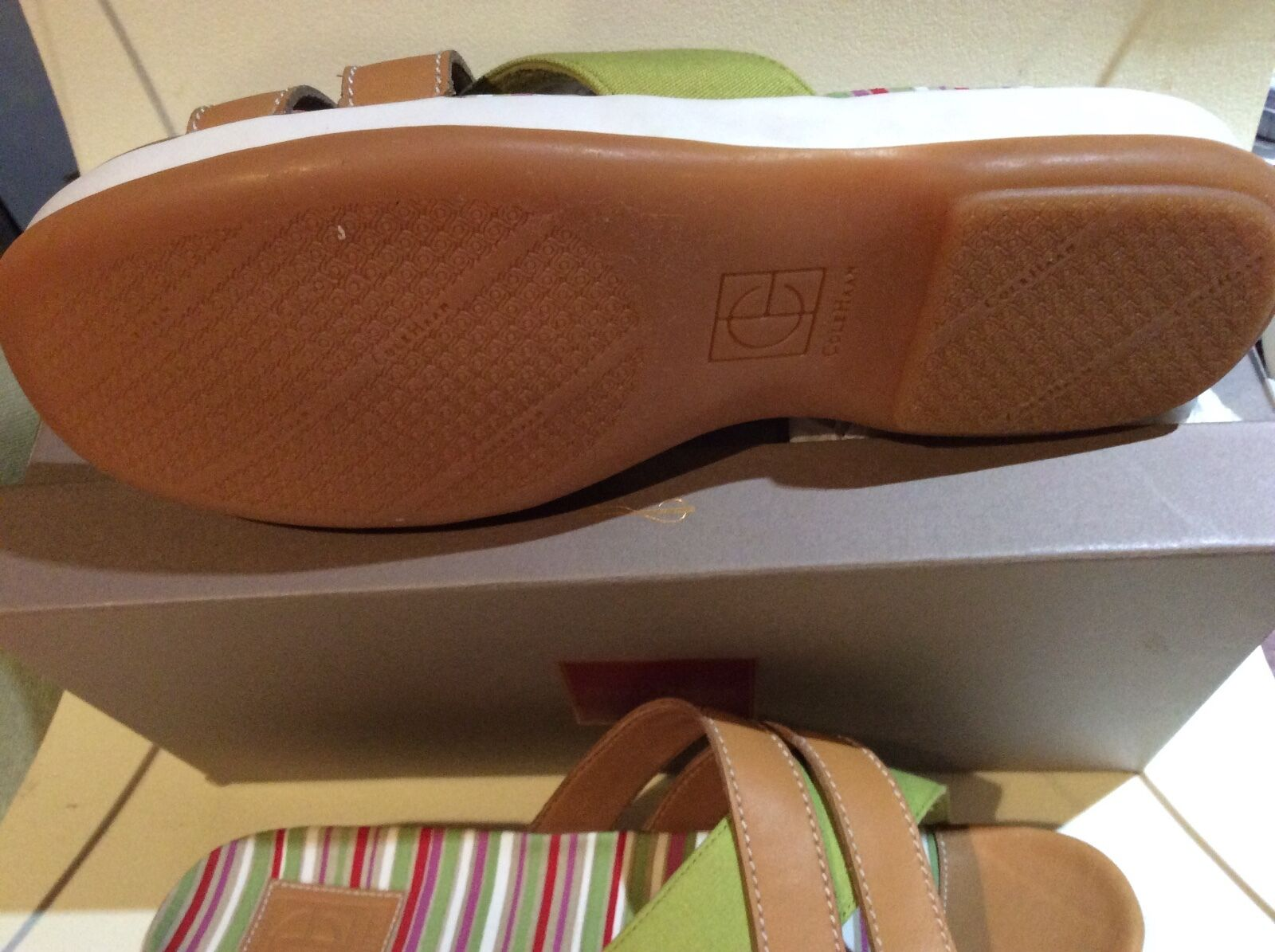 Cole Haan Leather and Canvas stripped sandals, Dimensione 11B, 11B, 11B, NWB cab566