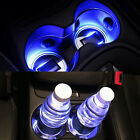 Solar Energy Cup Holder Bottom Pad LED Blue Light Cover Mat Trim For Car Truck