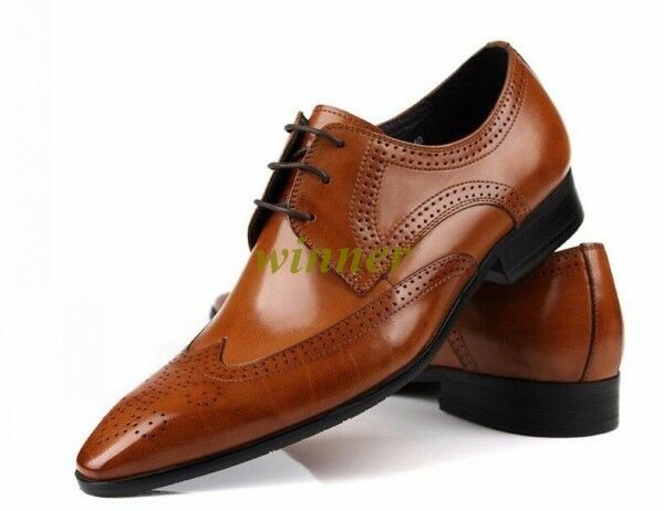Oxford leather Uomo shoes wedding Wing Tip business Uomo dress Formal Oxfords Sz