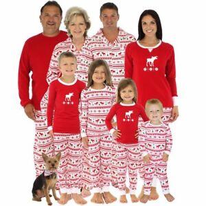 Family Christmas Pajamas Including Dog.Details About Family Matching Adult Kids Christmas Pajamas Sets Xmas Elk Sleepwear Pjs Outfits