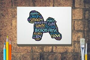 Bichon-Frise-Dog-Word-Art-Canvas-A4-A3-A2A1-Mothers-Day-Gift-Personalised-Option