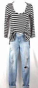 Light-Wash-Distressed-High-Waist-Hollister-Denim-Jeans-Size-00R-W23-L31-W-Top