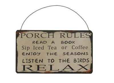 """Red Antique Metal Rustic Porch Rules Sign Wall Art Decor 13/""""X12/"""""""