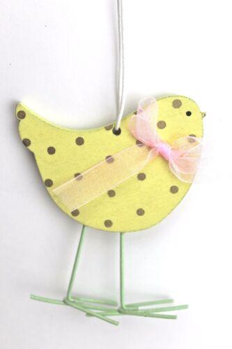 Gisela graham Pasqua Legno Pastello a Pois Pulcino con Fiocco Decorazione
