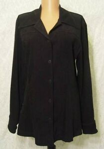Flat-BLACK-Lycra-Polyester-Button-Front-Flare-HEM-Fitted-GO-Blouse-Jacket-8