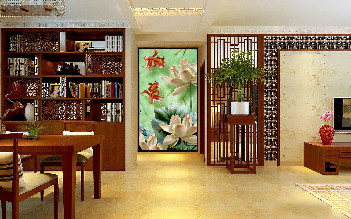 3D Goldfish Lotus 878 Wallpaper Mural Wall Print Wall Wallpaper Murals US Carly