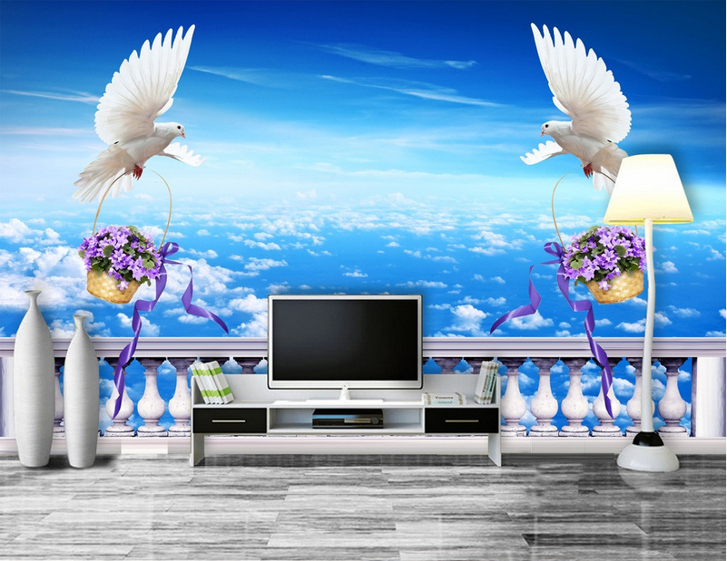 3D Himmel Weiße Taube 697 Tapete Tapeten Mauer Foto Familie Tapete Wandgemälde