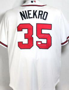 Phil Niekro Signed Atlanta Braves White Majestic Jersey w/ HOF - JSA W Auth *MB5