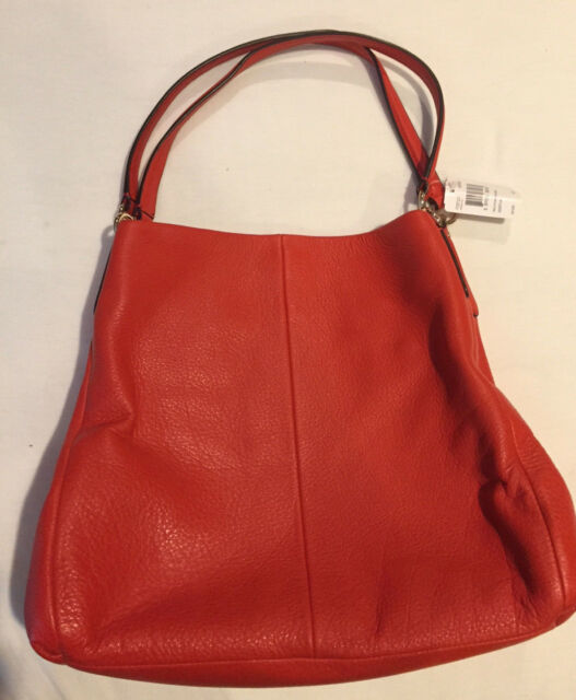 Nwt Coach F35723 Pebble Leather Phoebe Shoulder Bag Carmine Free Shipping