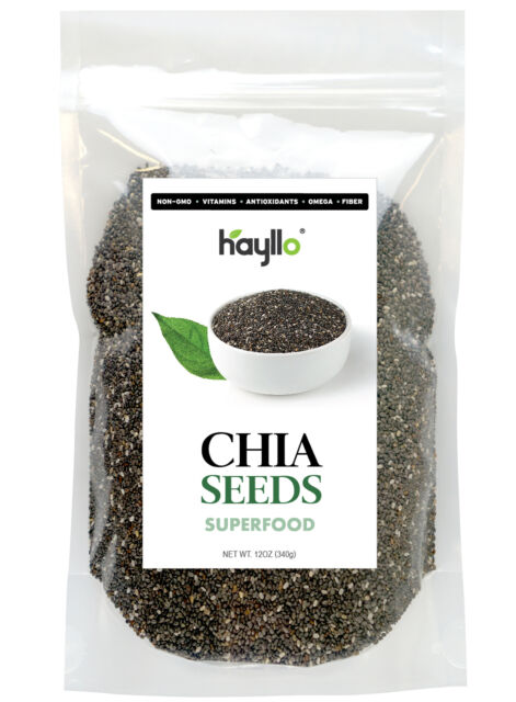 12oz, Premium Whole Chia Seeds In Resealable Bag by Hayllo Superfood