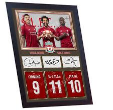 MO SALAH SIGNED Mohamed Salah FIRMINO MANE autographed photo poster shirt Framed