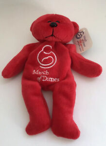 March-of-dimes-red-beanie-baby-walk-America-2002-from-Plush-land-rare-NWT