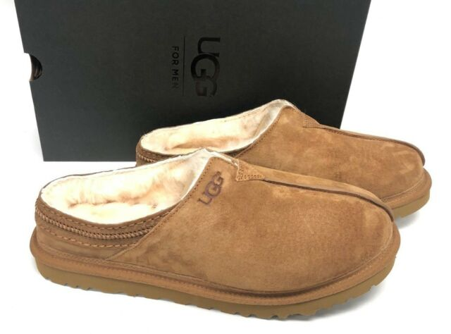 ccb4703f0c1 UGG Australia Neuman Chestnut Brown Fur Suede Slippers Mens Size 11
