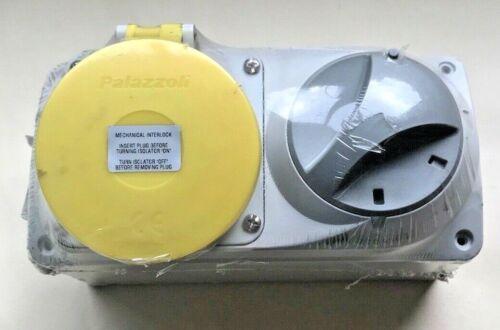110v Interlocked Switched Socket 110 volt 32A 3PIN Yellow IP44 2 PH /& Earth