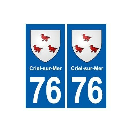 76 Criel-sur-Mer blason autocollant plaque stickers ville -  Angles : droits