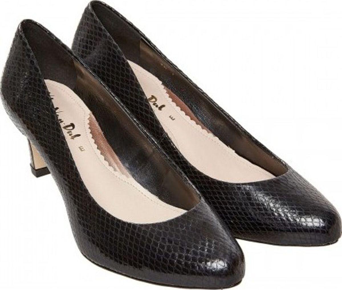 Ladies Van Dal Lowe Black Snake Print Court shoes Size 6.5 E Fitting