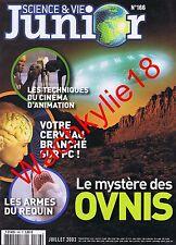 Science et vie junior n°166 du 07/2003 OVNI UFO Requin Cinéma d'animation