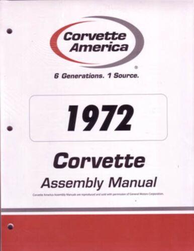 1972 Chevrolet Corvette Assembly Manual Book Rebuild Instructions ...