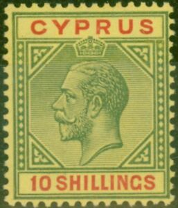 Cyprus-1923-10s-Green-amp-Red-Pale-Yellow-SG100-Superb-MNH-Brandon-Certificate