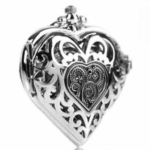 Stunning silver love heart pocket watch pendant necklace long chain image is loading stunning silver love heart pocket watch pendant necklace mozeypictures Gallery