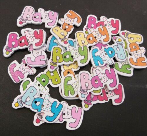 /'Baby/' Colores Mezclados Manualidades 40 Botones Madera Coser Costura 28mm X 17mm.