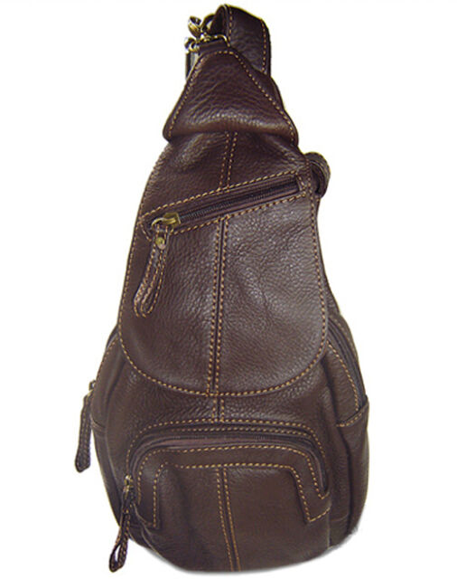 Fashion Women Girl Coffee Cowhide leather Shoulder bag Chest pack small Backpack