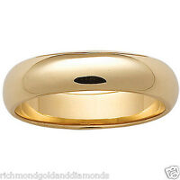 10k Yellow Gold 6mm Size 7 Plain Mens And Womens Wedding Band Ring 6 Mm