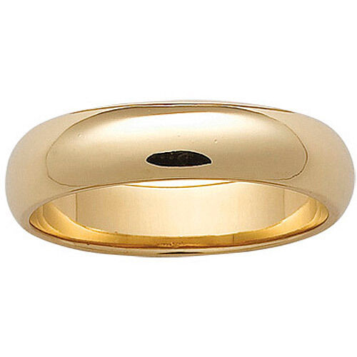 10k Solid Yellow Gold 6mm Size 6 Plain Mens and Womens Wedding Band Ring 6 MM
