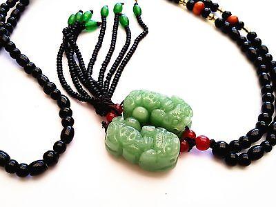 Handmade Feng Shui Jade Double Pi Yao /Xiu /Xie charm hanging amulet ornament