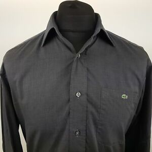 Lacoste-Mens-Vintage-Shirt-40-MEDIUM-Long-Sleeve-Graphite-Regular-Fit-Cotton