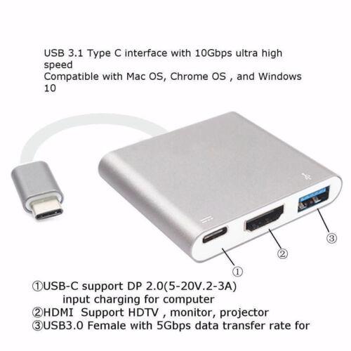 USB-C HUB Digital Multi Port Adapter USB 3.1 Type-C to 1 HDMI 4K USB 3.0 Silver