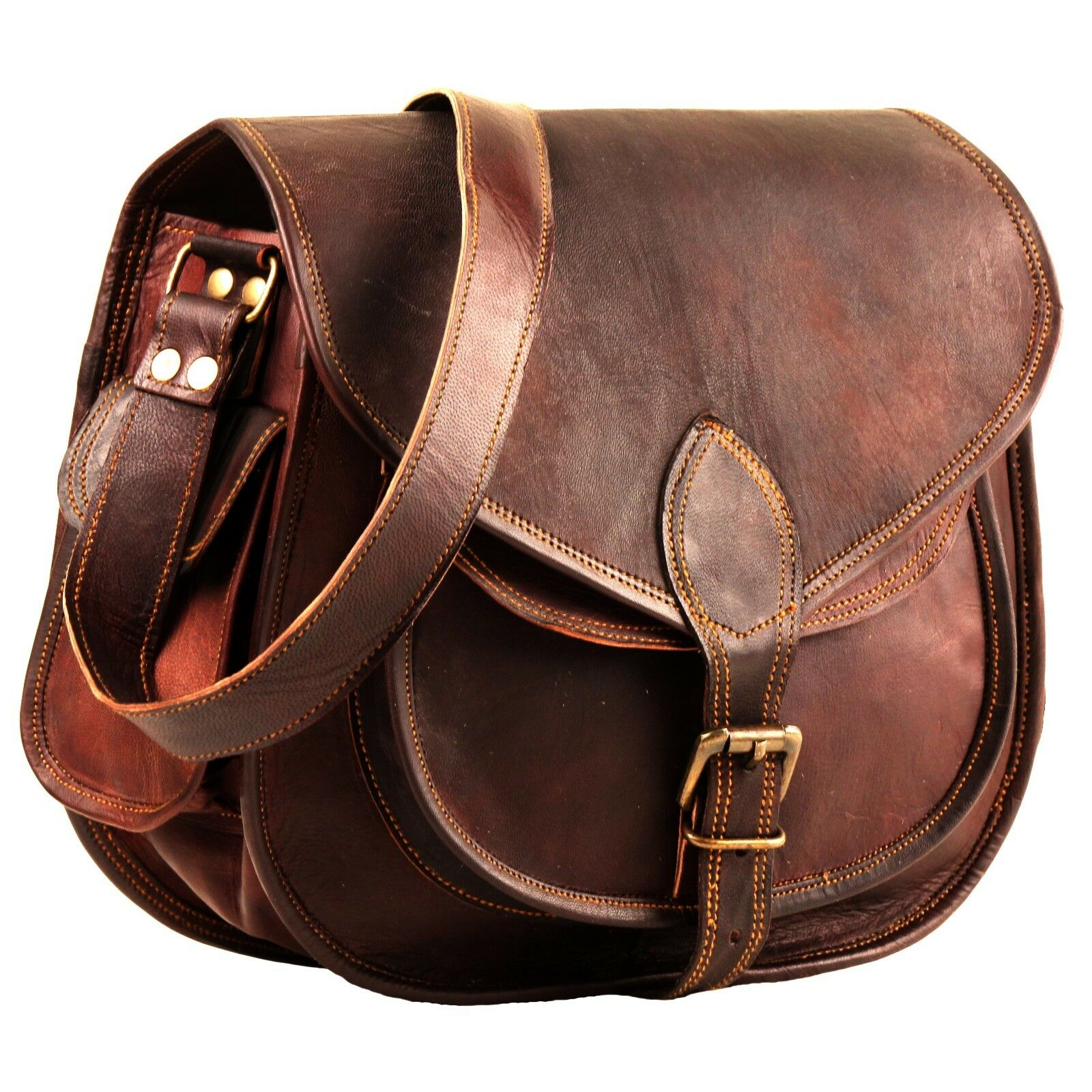 e8b3d288c79a Details about Handmade Women Vintage Style Genuine Brown Leather Cross Body  Shoulder Bag