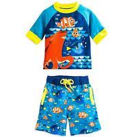 Disney Store Finding Dory Rash Guard & Swim Trunks Set Boy Size 4 5/6