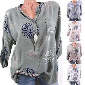 Plus-Size-Women-Summer-Casual-V-Neck-Blouse-Tops-Ladies-Loose-Long-Sleeve-Shirt