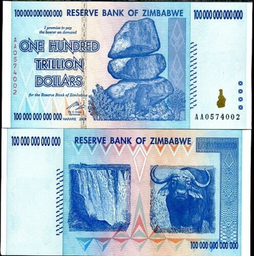 ZIMBABWE 100 TRILLION DOLLARS 2008 P 91 AUNC ABOUT UNC