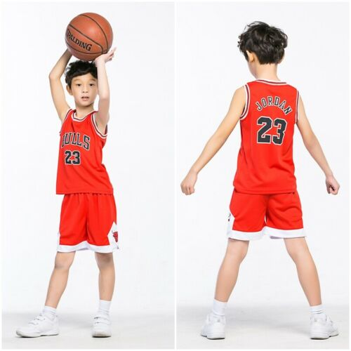 Baby Boys Girls #23 Basketball Kit Jerseys Shorts Set Sportswear 2-14Y Kids UK