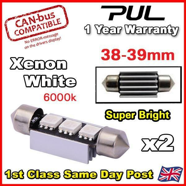 Range Rover Vogue L322 Xenon White LED Number Plate Lights Bulbs Error Free 39mm
