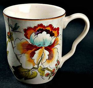 One-Bella-Vista-Mug-222-Fifth-Colorful-Floral-Dragonfly-Fine-China-4-1-4-inch