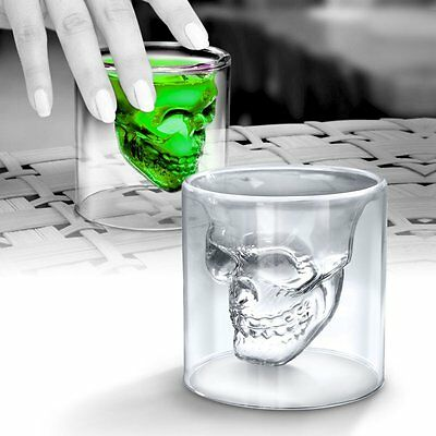 UK - 2 x Skull Head Shot Glass Fun Creative Designer Doomed Crystal Party Doom