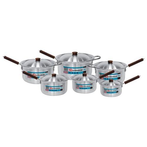 Aluminium Pavo Casserole Set avec couvercle 6pc 16-18-20 22-24-26cm