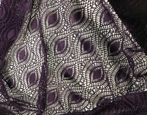"""Feather Eye 54/"""" by the yard Eggplant Purple Crochet LACE Fabric"""
