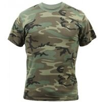 T-shirt Woodland Camouflage Made In Usa 50/50 Poly Cotton Size 5xl