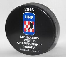 Zagreb CROATIA 2016 IIHF official hockey game puck WORLD CHAMPIONSHIP DIVISION