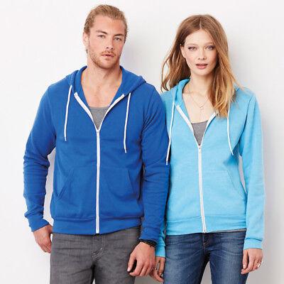Bella+canvas Unisex Adult Zip Up Fleece Hooded Sweatshirt Warm Jacket Casual New