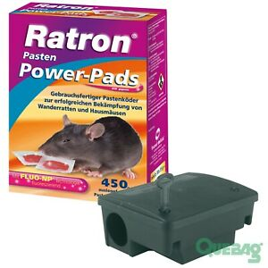 Rattenköder Rattengift Ratron Pasten Power-Pads 29ppm 450g + Köderstation Beta