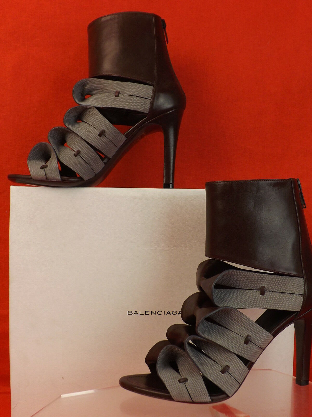 NIB BALENCIAGA ORIGAMI TWO TONE BOWS LEATHER BACK ZIP ANKLE BOOTS PUMPS 37  1K