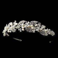 Silver Freshwater Ivory Pearl & Rhinestone Vine Leaf Bridal Headband Tiara