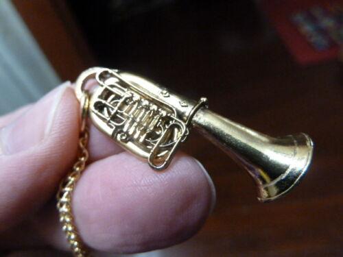 M-205-F TUBA pendant NECKLACE JEWELRY 24k gold plate I love TUBAS 5 valve