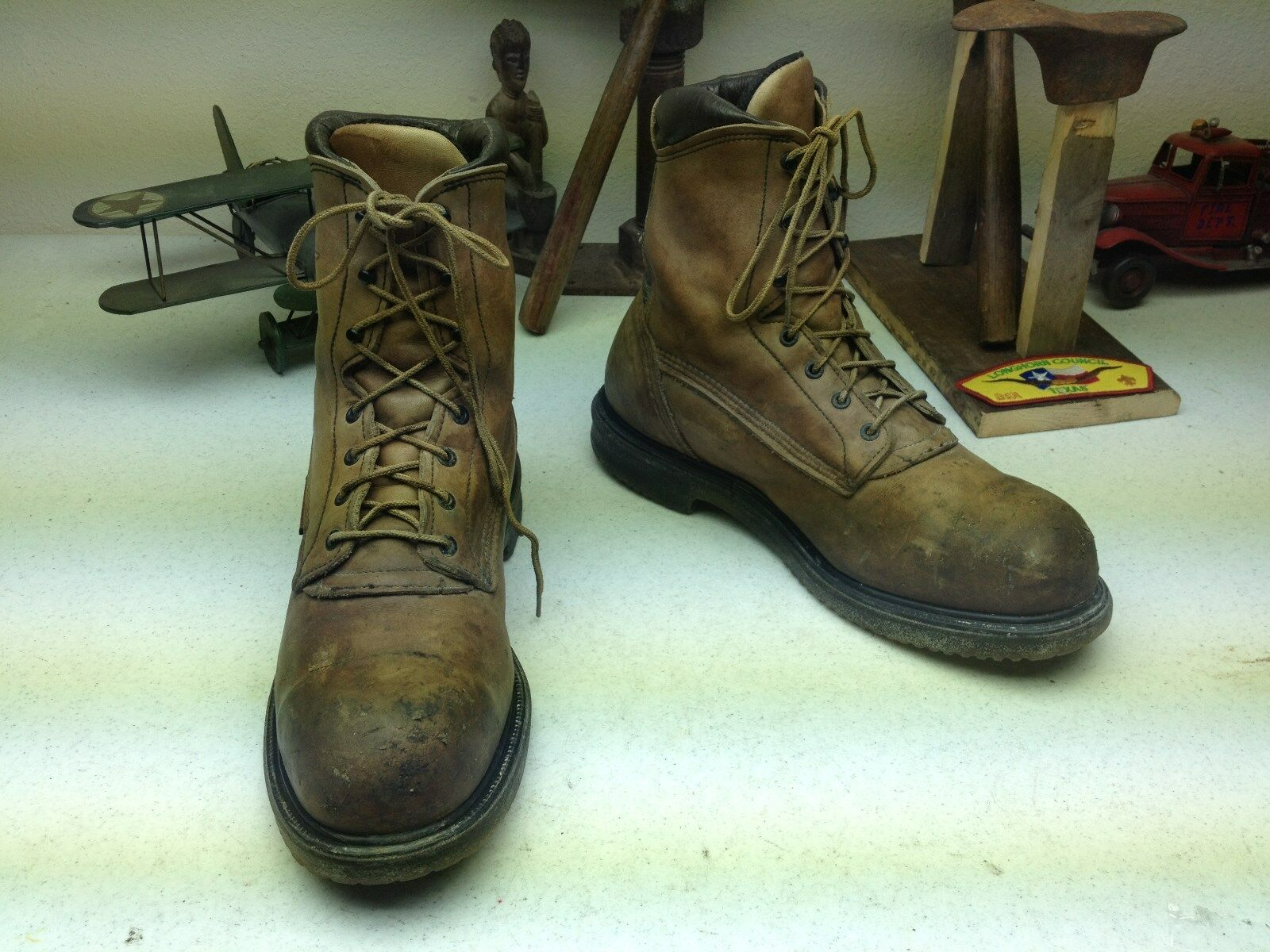 BROWN DISTRESSED RED WING STEEL STEEL STEEL TOE MADE IN USA LACE UP ROAD WORK BOOTS 12 D b41170