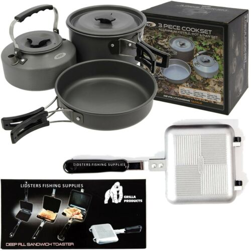 Toasties Maker Cooking Kettle Frying Pan Pot Carp Fishing NGT 3 Piece Cook Set
